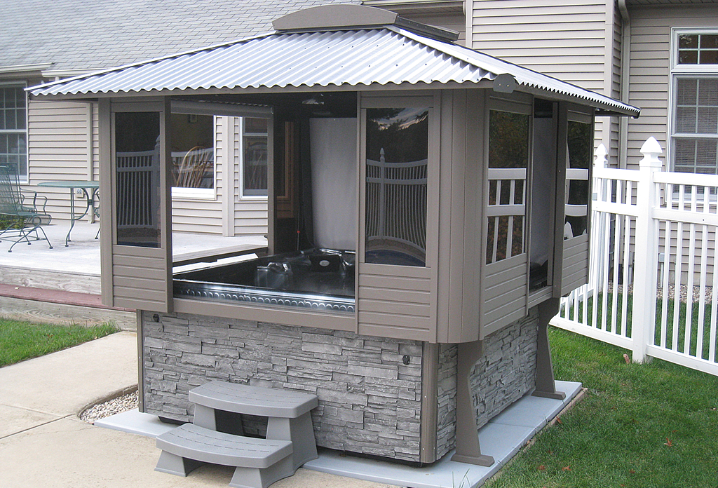 Tubtop gazebos north shore pool spa for Hot tub shelter